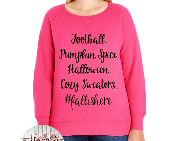 Football Pumpkin Spice Halloween Cozy Sweaters #fallishere Slouchy French Terry Pullover Sweatshirt, Size Small-4X, Plus Size Clothing