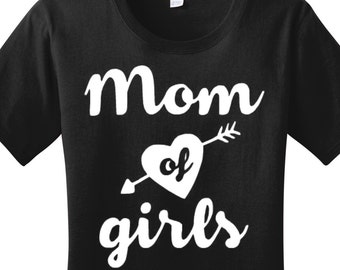 Mom Of Girls Heart Arrow, Women's Graphic T-shirt in 7 Different Colors in Sizes Small-4X, Plus Size