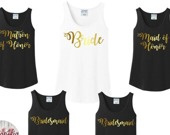 Bridal Party Tanks, Wedding, Bride, Bridesmaid, Bachelorette,  Women's Tank Tops in 6 Colors in Sizes Small-4X, Plus Size