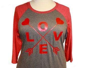 Love Heart Arrow, Valentines Day, Womens Baseball Raglan 2 Tone 3/4 Sleeve Tops in Sizes Small-4X, Plus Size