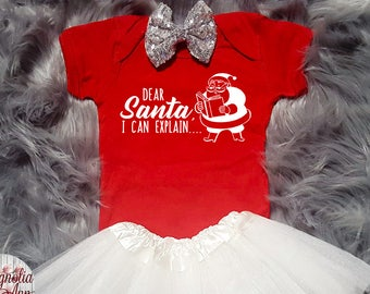 Dear Santa I Can Explain, Baby Christmas Outfit, Christmas Baby Shirt, Christmas Bodysuit, Toddler Shirt, Toddler Christmas Outfit