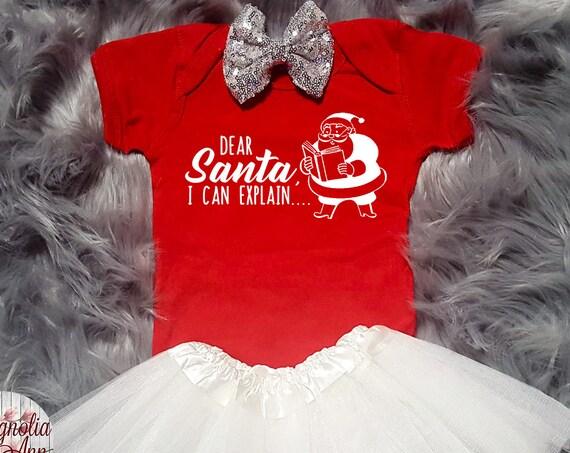 Dear Santa I Can Explain, Baby Christmas Outfit, Christmas Baby Shirt, Christmas Bodysuit, Toddler Shirt, Toddler Christmas Outfit