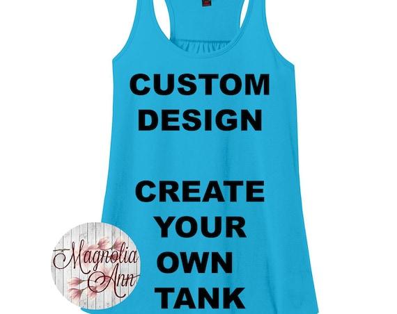 Custom Design, Create Your Own Design Women's Racerback Tank Top in Sizes Small-4X, Plus Size Clothing, Plus Size Tank, Plus Size Racerback