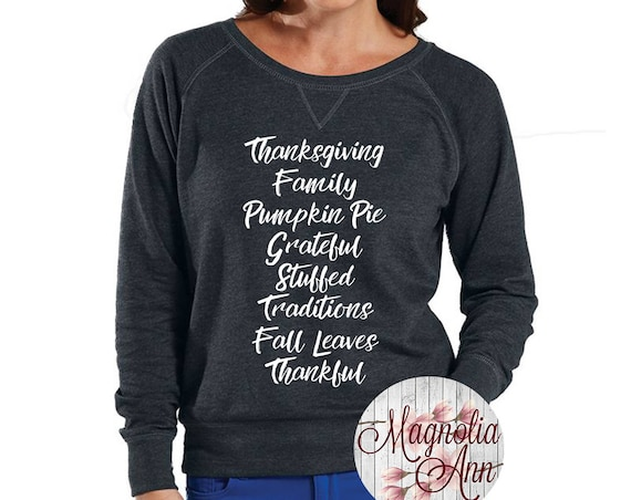 Thanksgiving Family Pumpkin Pie Grateful, Slouchy French Terry Pullover Sweatshirt, Size Small-4X, Plus Size Clothing, Thanksgiving Shirt