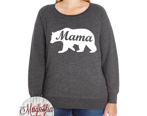 Mama Bear Slouchy French Terry Pullover Sweatshirt, Size Small-4X, Plus Size Clothing, Plus Size Sweatshirt, Baby Shower Gifts, Gift for Mom