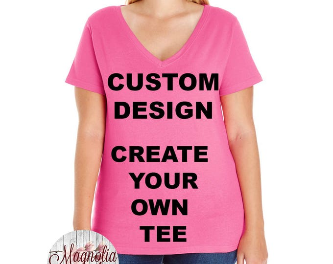 Featured listing image: Custom Design, Create Your Own Design, Womens Premium Jersey V Neck T-shirt, Size Small-4X, Plus Size Clothing, Plus Size T Shirt