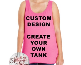 Custom Design, Create Your Own Design, Womens Premium Jersey Tank Top, Size Small-4X, Plus Size Clothing, Plus Size Tank, Plus Size T Shirt