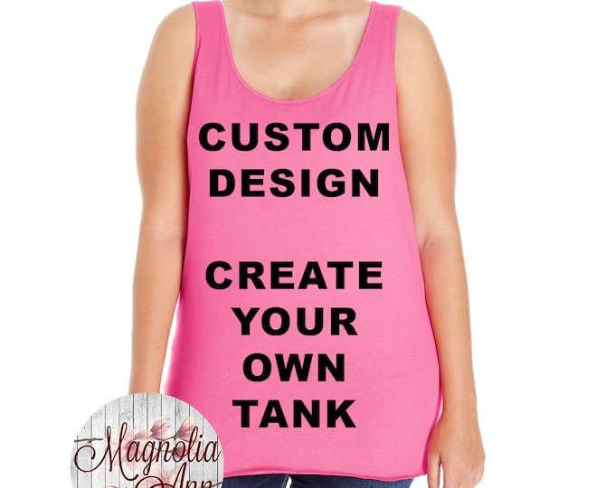 Featured listing image: Custom Design, Create Your Own Design, Womens Premium Jersey Tank Top, Size Small-4X, Plus Size Clothing, Plus Size Tank, Plus Size T Shirt