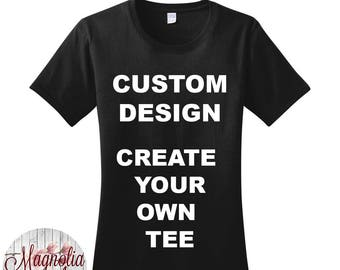 Custom Design, Create Your Own Tee, Women's Crew Neck T-Shirt in Sizes Small-4X, Plus Size Clothing, Plus Size Tshirt, Plus Size Shirt