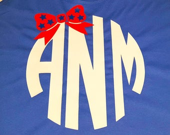 Custom Monogram with Bow, Red White & Blue, Patriotic, 4th of July, Women's Cotton Tank Top in 6 Colors in Sizes Small-4X, Plus Size