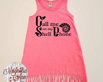 Call Me On My Shell Phone Dress, Summer Dress, Girls Fringe Dress, Little Girls Dress, Girls Dress, Toddler Dress, Baby Dress, Infant Dress