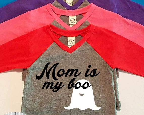 Mom is My Boo, Ghost, Halloween,  Infant Baby V-Neck Baseball Raglan T-shirt in 5 Colors in Sizes 6 Months-24 Months