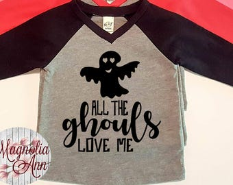 All The Ghouls Love Me, Ghost, Halloween,  Infant Baby V-Neck Baseball Raglan T-shirt in 5 Colors in Sizes 6 Months-24 Months