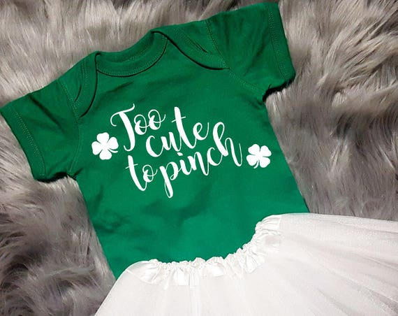 Too Cute To Pinch St Patrick Bodysuit Outfit, St Patricks Outfit, St Patricks Day Baby, St Patricks Day Outfit Girl, St Patricks Day Tutu