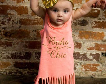Boho Chic Dress, Summer Dress, Girls Fringe Dress, Little Girls Dress, Girls Beach Dress, Toddler Dress, Infant Dress, Baby Dress, Dress