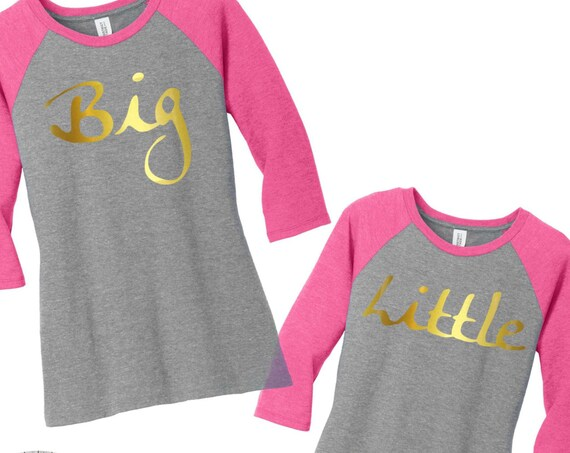Big Little Sorority Gold Metallic Raglan 2 Tone Baseball Womens Tees in Small-4X in 5 colors, Plus Size