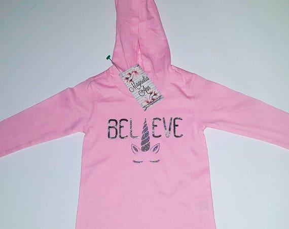 Believe Unicorn Pale Pink Lightweight Long Sleeve Hoodie, Baby, Infant, Toddler Hoodie, Baby Unicorn Shirt, Baby Unicorn Outfit, Unicorn Tee