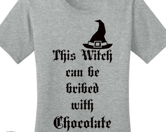 This Witch Can Be Bribed With Chocolate, Halloween Women's T-shirts in 7 Colors in Sizes Small-4X, Plus Size Clothing, Plus Size Halloween
