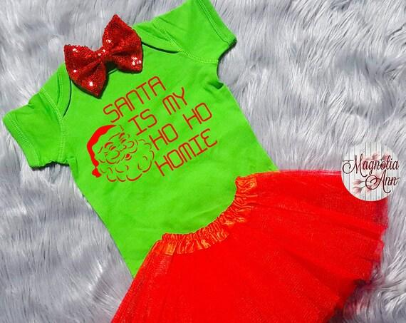 Santa is My Ho Ho Homie, Baby Christmas Outfit, Christmas Baby Shirt, Christmas Bodysuit, Toddler Shirt, Toddler Christmas Outfit
