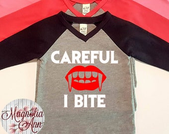 Careful I Bite, Vampire, Halloween,  Infant Baby V-Neck Baseball Raglan T-shirt in 5 Colors in Sizes 6 Months-24 Months