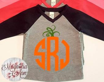 Custom Pumpkin Monogram, Infant Baby V-Neck Baseball Raglan T-shirt in 5 Colors in Sizes 6 Months-24 Months, Childrens Thanksgiving Shirt