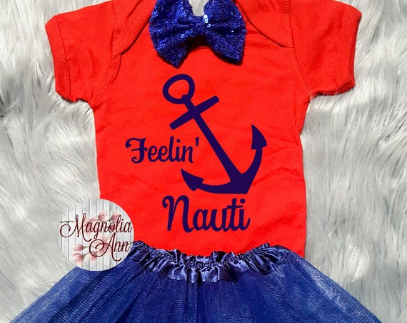 Feelin Nauti Anchor Outfit, 1st Birthday Outfit, Nautical Outfit, 1st Birthday Tutu Outfit, Toddler Nautical Shirt, Toddler Anchor Tutu Set
