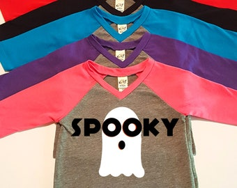Spooky, Ghost, Halloween,  Infant Baby V-Neck Baseball Raglan T-shirt in 5 Colors in Sizes 6 Months-24 Months