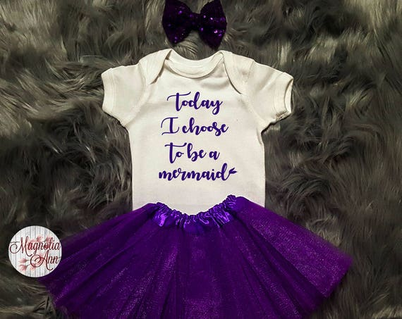 Today I Choose To Be A Mermaid Outfit, 1st Birthday Outfit, 1st Birthday Tutu Outfit, Toddler Mermaid Shirt, Toddler Mermaid Tutu Set
