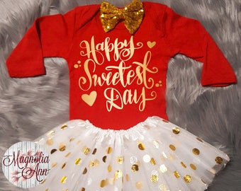 Happy Sweetest Day Valentines Outfit, Toddler Valentines Day Outfit, Baby Girl Valentines Outfit, Babies 1st Valentines Day, Toddler Girl