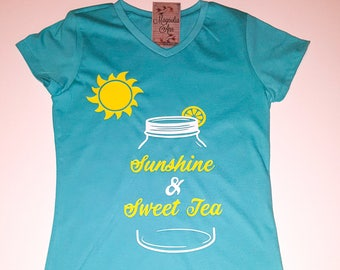 Sunshine and Sweet Tea, Little Girls Fine Jersey V-Neck T-shirt in Sizes XS-Xl in 14 Colors