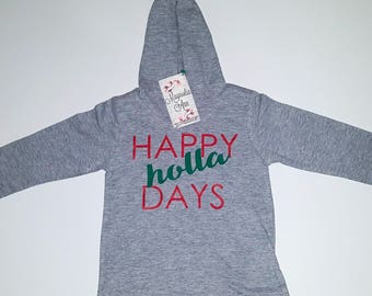 Happy Holla Days Grey Lightweight Long Sleeve Baby Infant Toddler Hoodie, Baby Christmas Shirt, Unisex Christmas Shirt, Infant Christmas