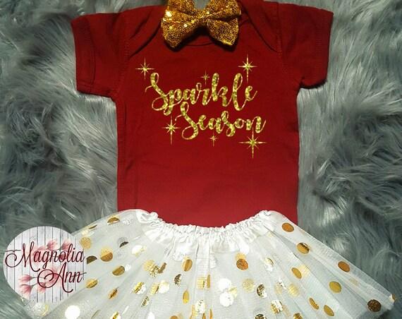 Sparkle Season, Baby Christmas Outfit, Christmas Baby, My 1st Christmas Outfit, Christmas Bodysuit, Toddler Shirt, Toddler Christmas Outfit