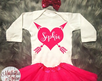 Custom Name Heart Arrow, Personalized Valentines Outfit, Toddler Valentines Day Outfit, Baby Girl Valentines Outfit, Baby's Valentine Onesie