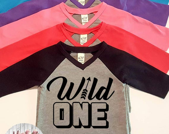 Wild One, 1st Birthday, Infant Baby V-Neck Baseball Raglan T-shirt in 5 Colors in Sizes 6 Months-24 Months