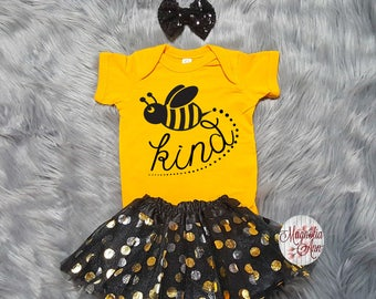 Bee Kind Tutu Outfit, Birthday Outfit, 1st Birthday Tutu Outfit, Toddler Bee Shirt, Toddler Bee Tutu Outfit, Bumble Bee Outfit, Baby Clothes
