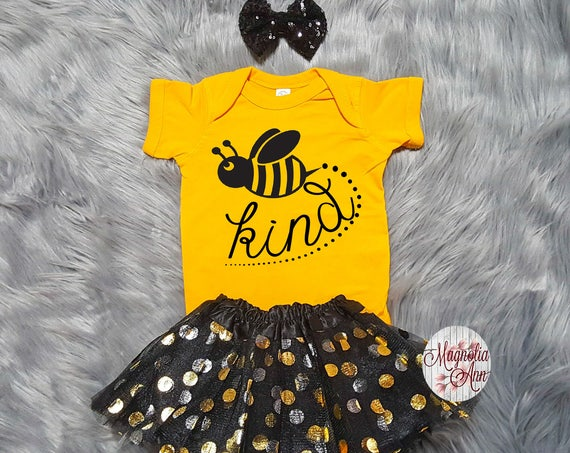 Bee Kind Tutu Outfit, Birthday Outfit, 1st Birthday Tutu Outfit, Toddler Bee Shirt, Toddler Bee Tutu Outfit, Bumble Bee Outfit, Bee Onesie