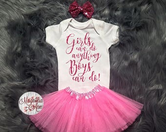 Girls Can Do Anything Boys Can Do, Baby Shirt, Toddler Shirt, Baby Tutu Set, Baby Shower Gift, Baby Gift Baby, Baby Bodysuit, 1st Birthday