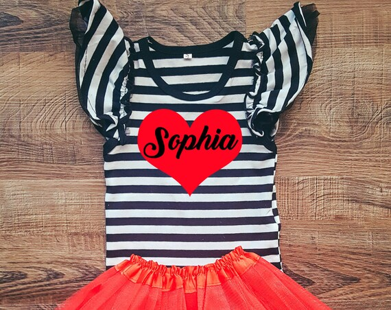 Custom Name Heart Flutter Sleeve Bodysuit, Baby Bodysuit, Toddler Bodysuit, Personalized Valentines Outfit, Baby Girl Valentines Outfit