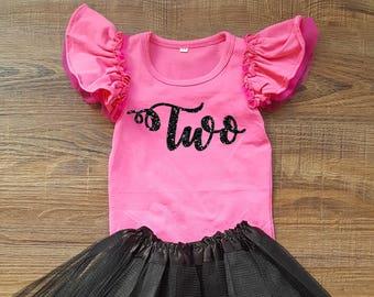 Two, Second Birthday Flutter Sleeve Bodysuit, Baby Flutter Sleeve Bodysuit, Toddler Birthday Bodysuit, 2nd Birthday Outfit, Birthday Leotard
