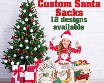Personalized Santa Sack, Canvas Santa Sack, Santa Sack, Custom Santa Sack, Christmas Gift Sacks. Santa Bags. Canvas Santa Bag, Christmas Bag