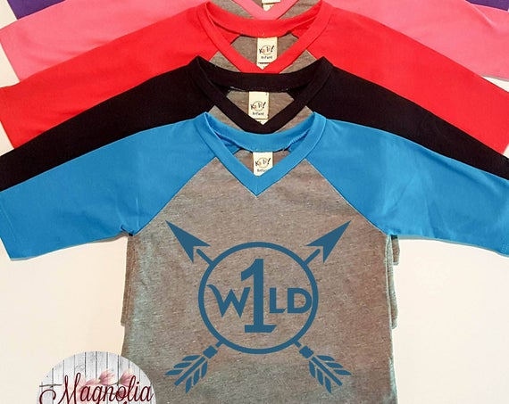 Wild One, 1st Birthday, Birthday Shirt, Infant Baby V-Neck Baseball Raglan T-shirt in 5 Colors in Sizes 6 Months-24 Months