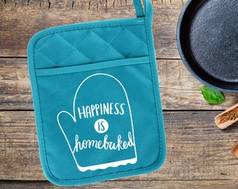 Happiness Is Home Baked, Pot Holder, Oven Mitt, Funny Pot Holder, Kitchen Gifts, Housewarming Gift, Personalized Pot Holder,Custom Oven Mitt