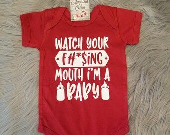 Watch Your Mouth I'm A Baby, Baby Shower Gift, Newborn Gift, Baby Bodysuit, New Baby Gift, Toddler Shirt, Funny Kid Shirt, Funny Baby Shirt