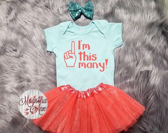 I'm This Many 1st Birthday Outfit, 1st Birthday Outfit, 1st Birthday Tutu Outfit, Toddler 1st Birthday Shirt, Toddler 1st Bday Tutu Outfit