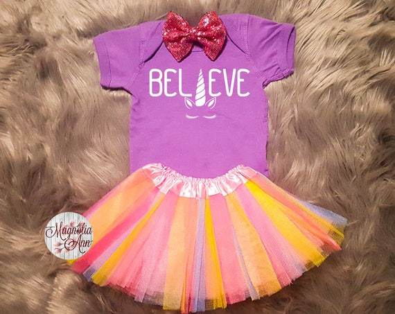 Believe Unicorn Outfit, Unicorn Birthday Outfit, Baby Unicorn Outfit, Unicorn Tutu Outfit, Toddler Unicorn Shirt, Toddler Unicorn Tutu Set
