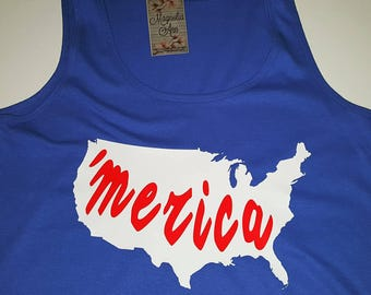 Merica, United States, America, Patriotic, 4th of July, Women's Cotton Tank Top in 6 Colors in Sizes Small-4X, Plus Size