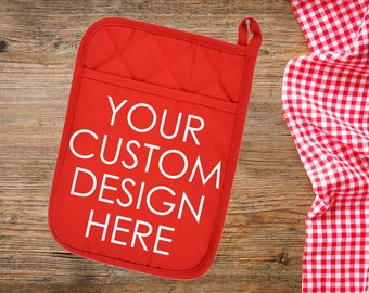 Custom Pot Holder, Custom Oven Mitt, Personalized Oven Mitt, Personalized Pot Holder, Kitchen Gift, Mother's Day Gift, Housewarming Gift