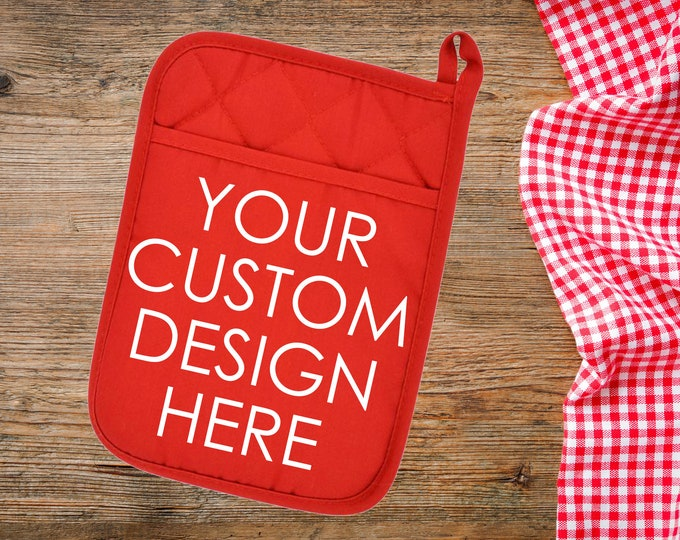 Featured listing image: Custom Pot Holder, Custom Oven Mitt, Personalized Oven Mitt, Personalized Pot Holder, Kitchen Gift, Mother's Day Gift, Housewarming Gift