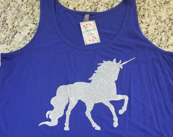 Ready to Ship, Size XXL Only, Glitter Unicorn Tank Top, Plus Size Clothing, Plus Size Tank, Plus Size Unicorn Shirt, Unicorn Tank, Curvy