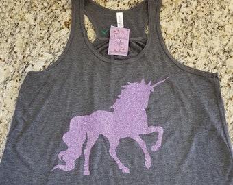 Ready to Ship, Size 2X ONLY, Purple Glitter Unicorn Racerback Tank,  Unicorn Shirt, Unicorn Tank, Workout Tank, Gym Tank, Unicorn Shirt